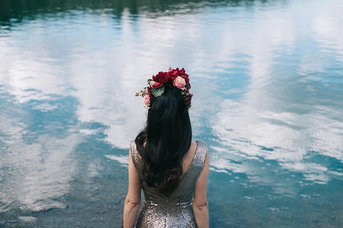 Corona de flores para boda